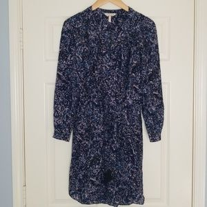 Rebecca Taylor Blue Print Silk Dress w Tassels